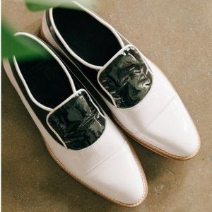 White Colorblock Patent Leather Boyfriend Oxfords
